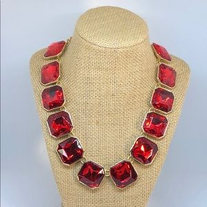 Beautiful Red Rhinestone Necklace, New.